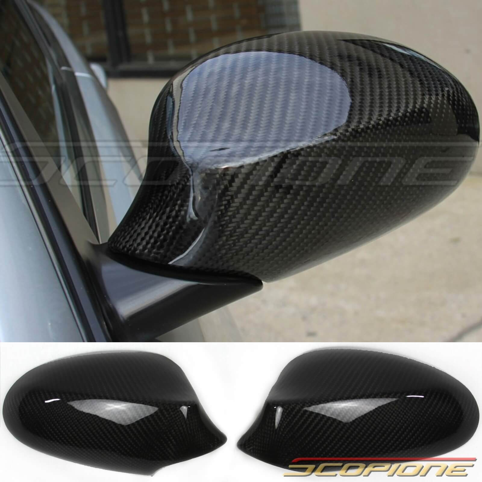 bbf868569871 More Views. Scopione GLOSSY Carbon Fiber Mirror Covers for 07-10 BMW 3  Series ...