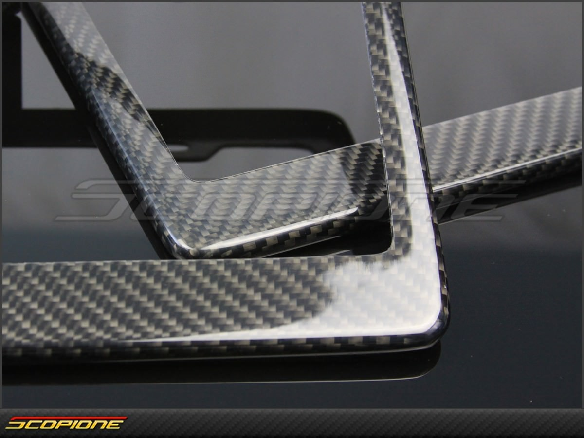 Set Of License Plate Frames In Carbon Fiber   For United States   USA.