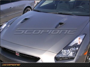 Scopione Nissan 09-14 GT-R GTR R35 BLK Glossy Carbon Fiber Hood Air Scoop Vents