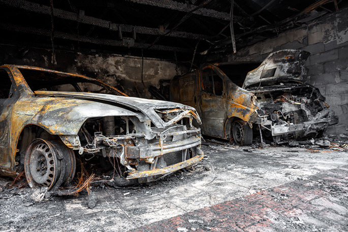 Burned, Destroyed, Ruined, Vehicle, Wrecked, Discoloration