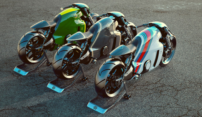 Three Lotus C-01 parked next to each other
