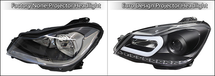 European headlights next to factory headlights